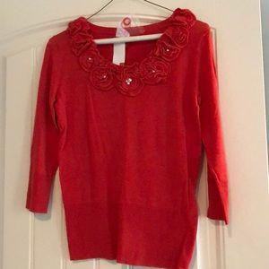 Orangish red 3/4 length sleeve sweater